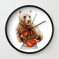 foo fighters Wall Clocks featuring Bear Fighters. by beart24