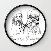 cactei Wall Clocks featuring Moonrise Kingdom by ☿ cactei ☿