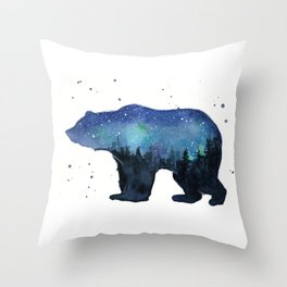 Forest Bear Silhouette Watercolor Galaxy Throw Pillow
