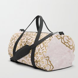 Marble mandala - golden on pink marble Duffle Bag