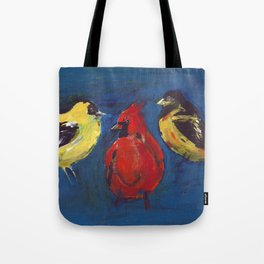 Shadow Bird (Cardinal, Goldfinches, and ?) Tote Bag