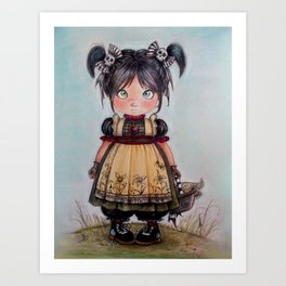gothic girl and funny skulls Art Print