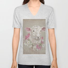 Sheep With Floral Wreath by Debi Coules Unisex V-Neck
