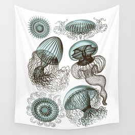 Ernst Haeckel Jellyfish Leptomedusae Cyan Brown Wall Tapestry