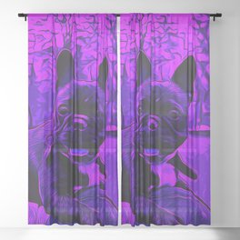 french bulldog basketball vector art purple Sheer Curtain