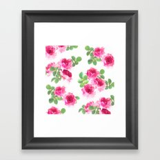 Raspberry Pink Painted Roses on White Framed Art Print
