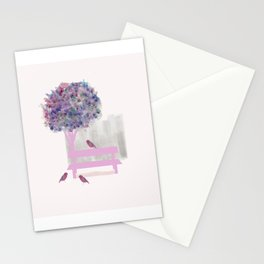 Park bench tree and birds Stationery Cards