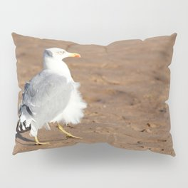 Seagull in a windy day with ruffled feathers Pillow Sham