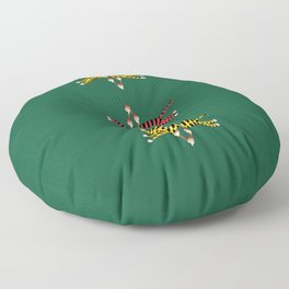 Brave Tiger - Green Floor Pillow