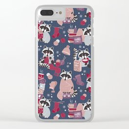 Hygge raccoon Clear iPhone Case