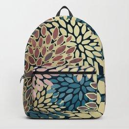 Christmas, Flower Garden, Gold, Pink, Blue, Floral Prints Backpack