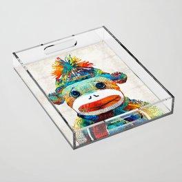 Sock Monkey Art - Your New Best Friend - By Sharon Cummings Acrylic Tray