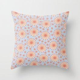 Carousel Blue Retro Throw Pillow