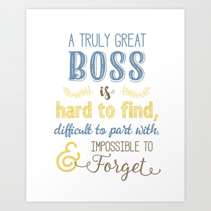 5aaf7fa9ece A Truly Great Boss Art (Colleague Farewell) in Blue & Yellow Art Print