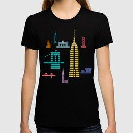 New York Skyline Empire State Poster Black T-shirt