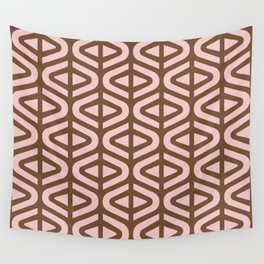 Mid Century Modern Split Triangle Pattern Pink and Brown 2 Wall Tapestry