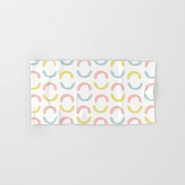 Pastel pink coral blue yellow abstract geometrical circles Hand & Bath Towel