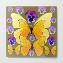 SPRING PURPLE PANSY FLOWERS & YELLOW BUTTERFLIES GARDEN Metal Print