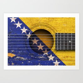 Old Vintage Acoustic Guitar with Bosnian Flag Art Print