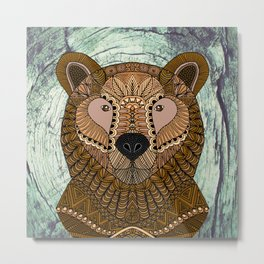 Ornate Brown Bear Metal Print