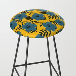 Blue Flowers with Banana Leaves with Yellow Bar Stool