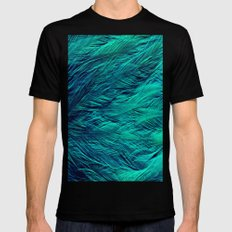 Teal Feathers Black MEDIUM Mens Fitted Tee