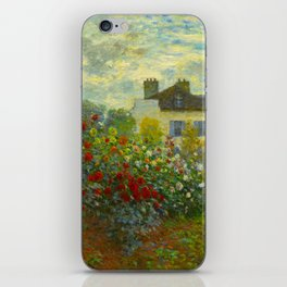 Claude Monet Impressionist Landscape Oil Painting A Corner of the Garden with Dahliass iPhone Skin