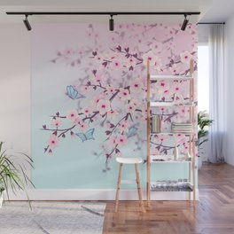 Cherry Blossoms Ladscape Wall Mural