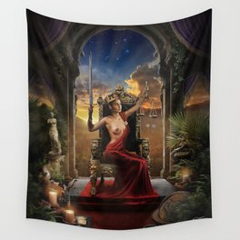 XI. Justice Tarot Card Illustration (Color) Wall Tapestry