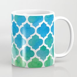 Blue and Green Watercolor Moroccan Pattern Coffee Mug
