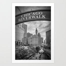 CHICAGO Riverwalk | Monochrome Art Print