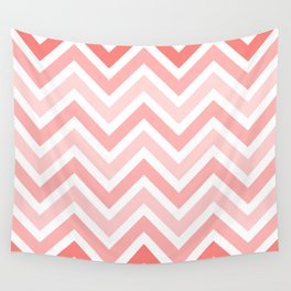 Geometrical mauve coral white modern chevron pattern Wall Tapestry