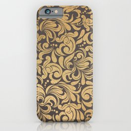 Gold foil swirls damask #11 iPhone Case