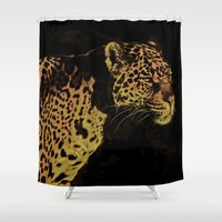 jaguar Shower Curtains featuring Jaguar by Die Farbenfluesterin