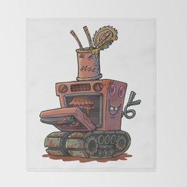 Robot pie thrower Throw Blanket