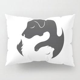 Yin Yang Dog Cat Couple Matching Cartoon Shirt Men Womens Pillow Sham