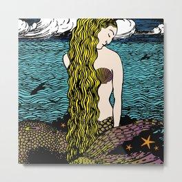 Mermaid by the Ocean | Siren of the Sea | Vintage Mermaid | Metal Print