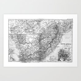 Vintage Map of South Africa (1892) BW Art Print