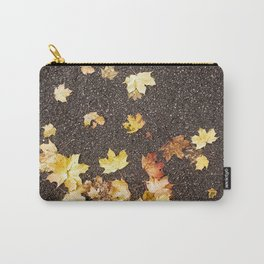 Gold yellow maple leaves autumn asphalt road Carry-All Pouch