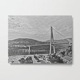 Dubrovnik Bridge bw Metal Print