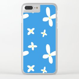 Classic Blue and White Flowers Clear iPhone Case