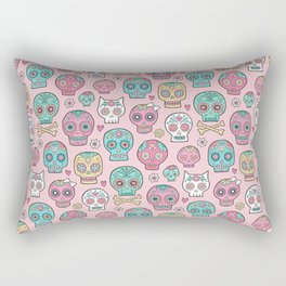 Sugar Skulls on Pink Rectangular Pillow