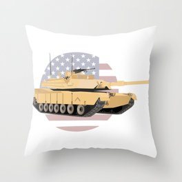 M1A1 Abrams Tank with American Flag Throw Pillow