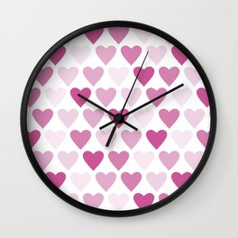 Cute heart seamless vector pattern in pink Wall Clock