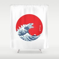 hokusai Shower Curtains featuring Hokusai kaiju by Marco Mottura - Mdk7