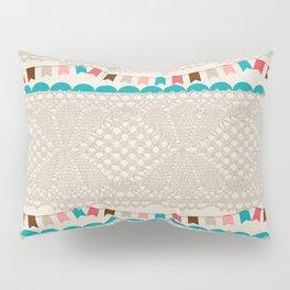 Vintage elegant ivory floral lace colorful flags pattern Pillow Sham