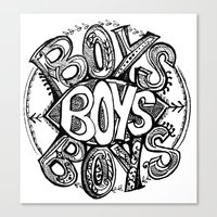 boys Canvas Prints featuring BOYS by Kelsey Walsh