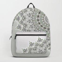 Mandala Flowers Grey Green Backpack