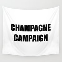 champagne Wall Tapestries featuring Champagne Campaign Mmm Bubbles by Morgan Mary