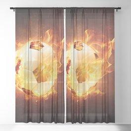 Fire Football Soccer Sport Sheer Curtain